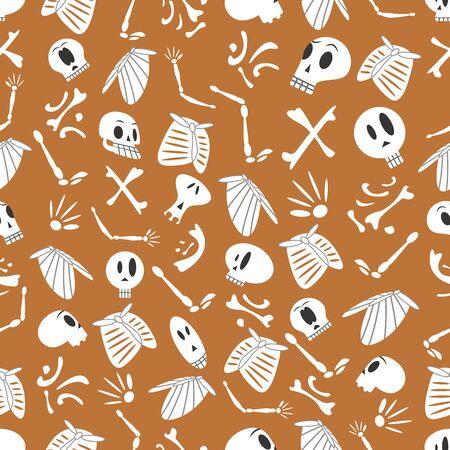 03: Halloween skeletons pattern 03 in editable vector file Illustration