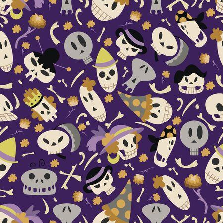 wallpaper: Halloween skulls pattern 01 in editable vector file