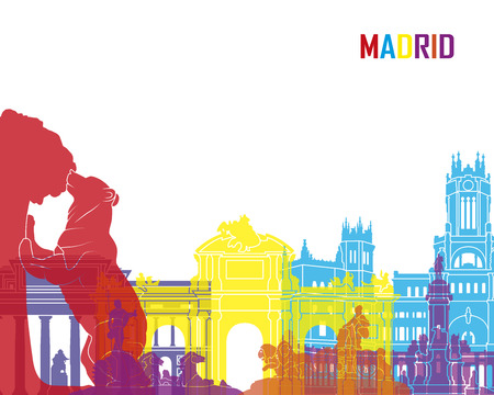 Madrid skyline pop in bewerkbare vector-bestand Stock Illustratie