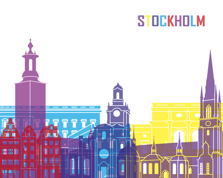 Stockholm skyline pop in editable vector file