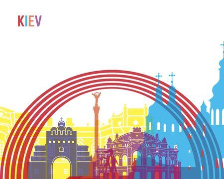 ukraine: Kiev skyline pop in editable vector file