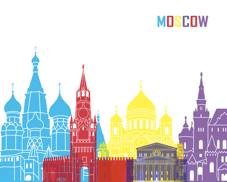moscow: Moscow skyline pop in editable vector file