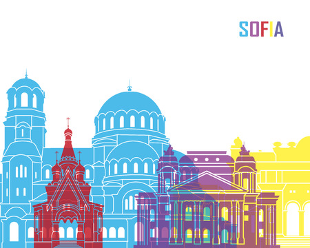 Sofia skyline pop in editable vector file