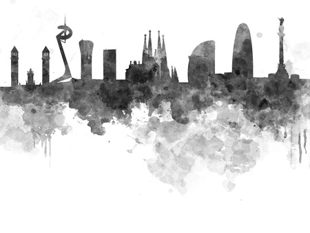 Barcelona skyline in black watercolor on white background