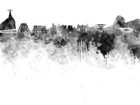 southamerica: Rio de Janeiro skyline in black watercolor on white background