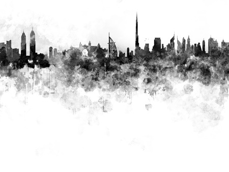 Dubai skyline in black watercolor on white background Stock Photo
