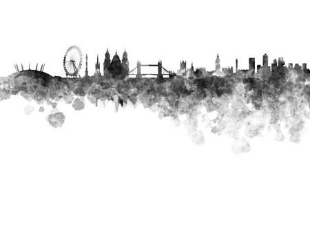 白の背景に黒の水彩でロンドンのスカイライン