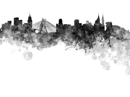 southamerica: Sao Paulo skyline in black watercolor on white background