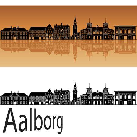 Aalborg skyline in orange background in editable vector file