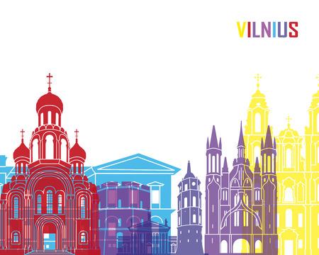 vilnius: Vilnius skyline pop in editable vector file