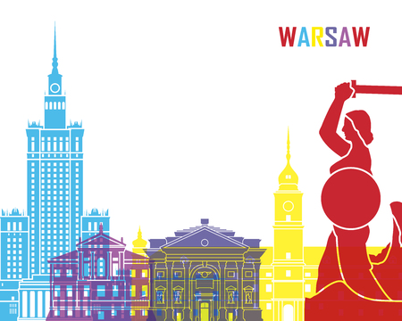 warsaw: Warsaw skyline pop in editable vector file