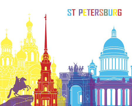 st petersburg: St Petersburg skyline pop in editable vector file Illustration