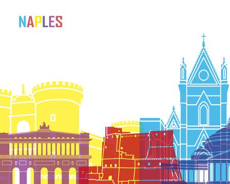 Naples skyline pop in editable vector file