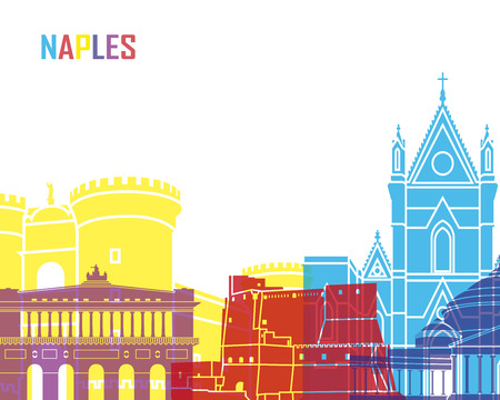 Naples skyline pop in editable vector file