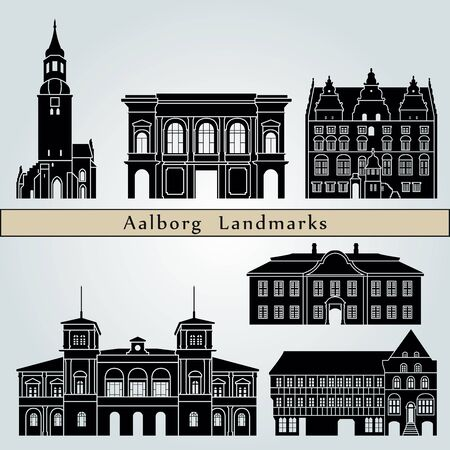 Aalborg landmarks and monuments isolated on blue background in editable vector file Illustration