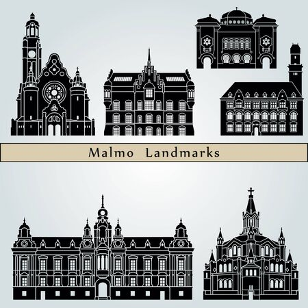 Malmo landmarks and monuments isolated on blue background in editable vector file