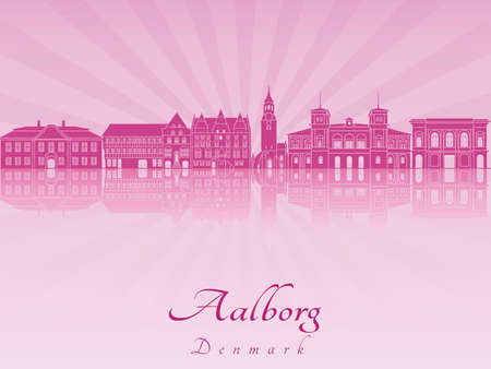 Aalborg skyline in purple radiant orchid in editable vector file