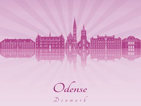 radiant: Odense skyline in purple radiant orchid in editable vector file