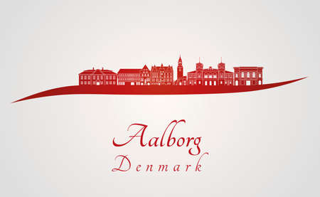 gray background: Aalborg skyline in red and gray background in editable vector file Illustration