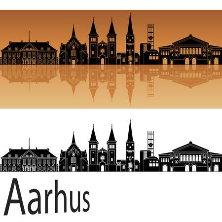Aarhus skyline in orange background in editable vector file