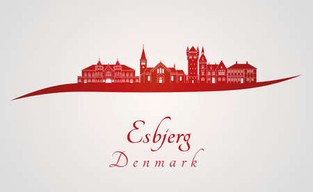 urban landscapes: Esbjerg skyline in red and gray background in editable vector file