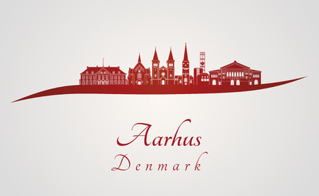 Aarhus skyline in red and gray background in editable vector file