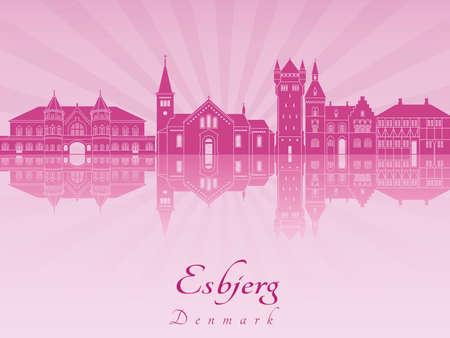 radiant: Esbjerg skyline in purple radiant orchid in editable vector file