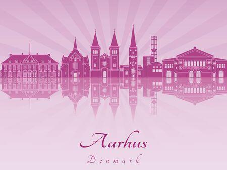 Aarhus skyline in purple radiant orchid in editable vector file