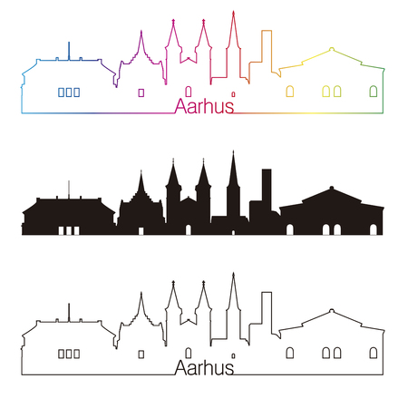 Aarhus skyline linear style with rainbow in editable vector file