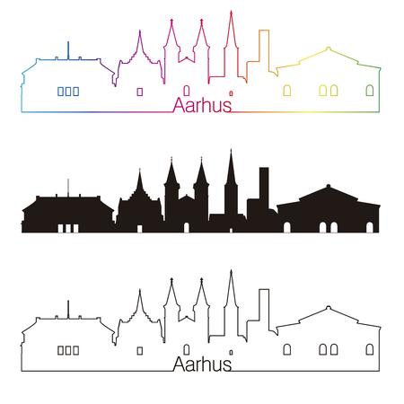 De horizon lineaire stijl van Aarhus met regenboog in editable vectordossier