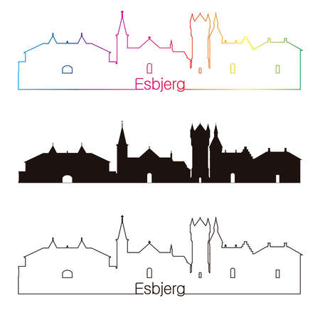 esbjerg: Esbjerg skyline linear style with rainbow in editable vector file Illustration