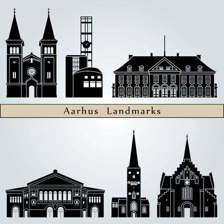 Aarhus landmarks and monuments isolated on blue background in editable vector file