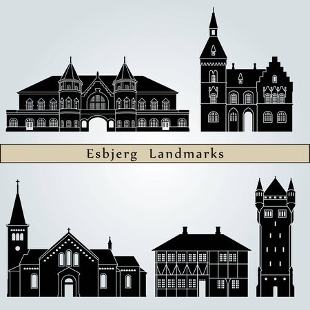 esbjerg: Esbjerg landmarks and monuments isolated on blue background in editable vector file