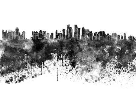 splatter: ciudad de Doha en la acuarela negro Foto de archivo