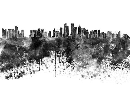 abstrato: skyline de Doha na aguarela preta