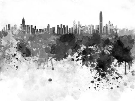 hong kong skyline: Hong Kong skyline in black watercolor