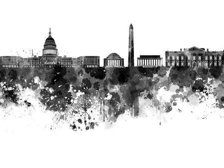 Washington DC skyline in black watercolor 版權商用圖片