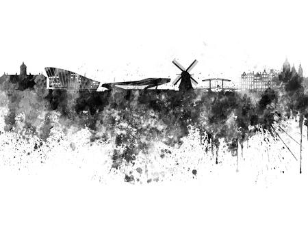 黒の水彩でアムステルダム スカイライン