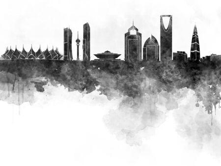 other keywords: Riyadh skyline in black watercolor Stock Photo