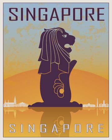 編集可能なベクトル ファイルに白い skyiline とオレンジと青の背景でシンガポール ビンテージ ポスター