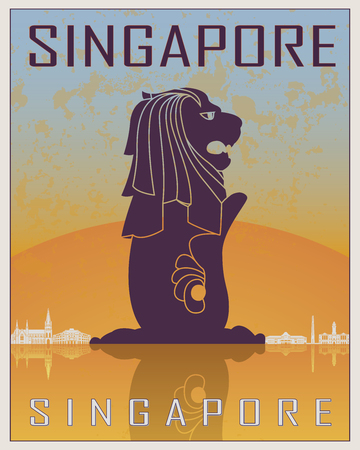 Singapore vintage poster in orange and blue background with white skyiline in editable vector file