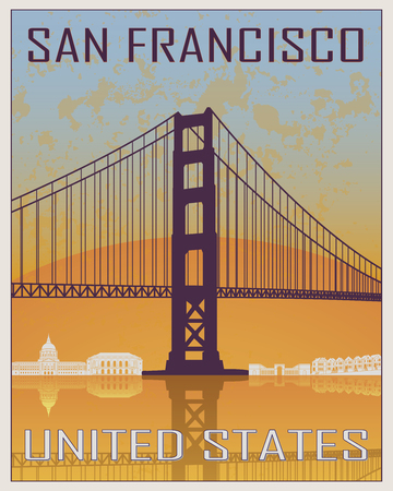 postcard: San Francisco vintage poster in orange and blue background with white skyiline in editable vector file