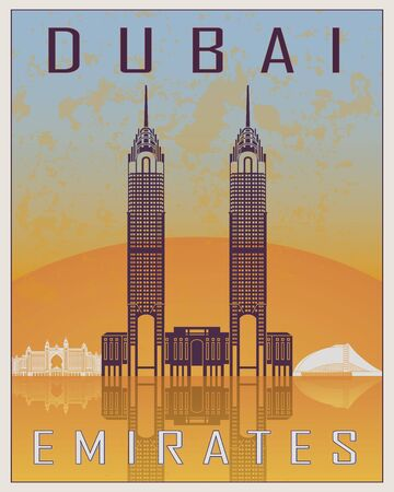old postcards: Dubai vintage poster in orange and blue background with white skyiline in editable vector file