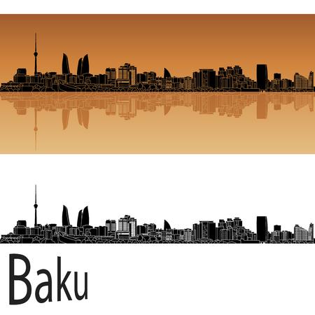 azerbaijan: Baku skyline in orange background in editable vector file Illustration