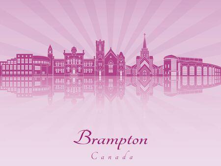 radiant: Brampton skyline in purple radiant orchid in editable vector file