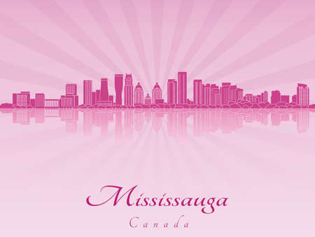 Mississauga skyline in purple radiant orchid in editable vector file