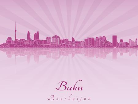 azerbaijan: Baku skyline in purple radiant orchid in editable vector file