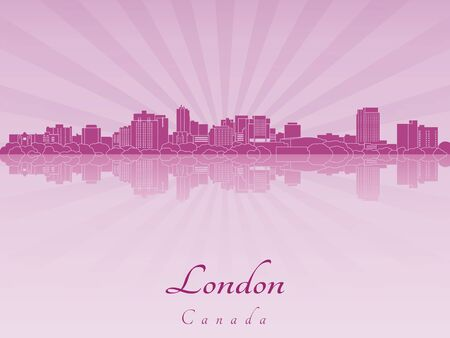 radiant: London skyline in purple radiant orchid in editable vector file