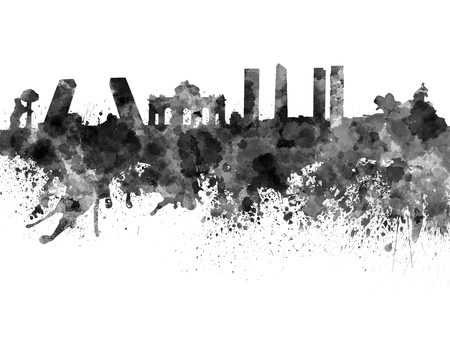 madrid: Madrid skyline in black watercolor