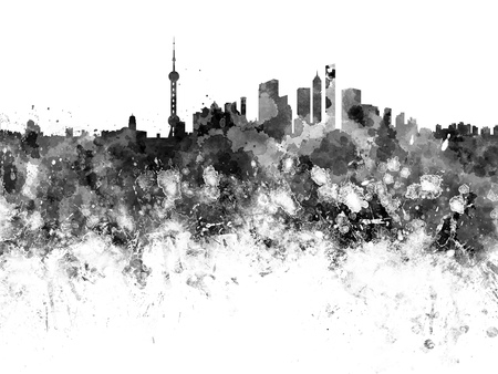 shanghai skyline: Shanghai skyline in black watercolor Stock Photo